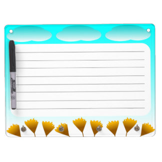 Clouds and Flowers dry erase board keychain holder