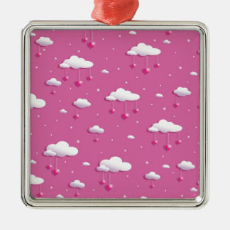Clouds and hearts metal ornament