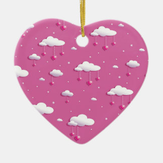 Clouds and hearts ceramic heart decoration