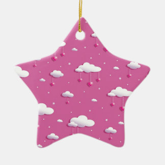Clouds and hearts ceramic star decoration