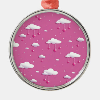 Clouds and hearts Silver-Colored round decoration