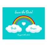 Clouds And Rainbow - Save the Date card Postcards