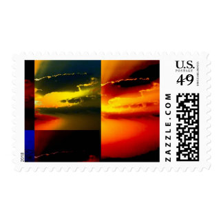 Clouds and Sky Pop Art Postage Stamp