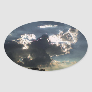 Clouds and  Sun Oval Sticker