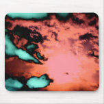 Clouds and sun under fire mouse pad