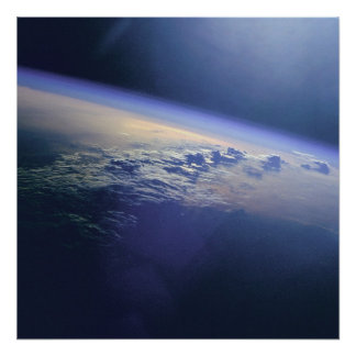 Clouds and Sunglint over Indian Ocean Poster