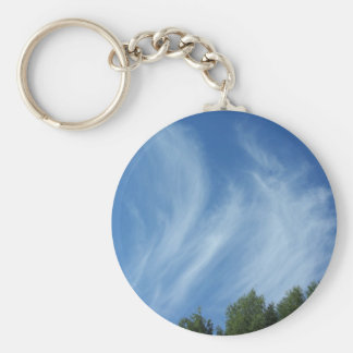 Clouds and trees basic round button keychain