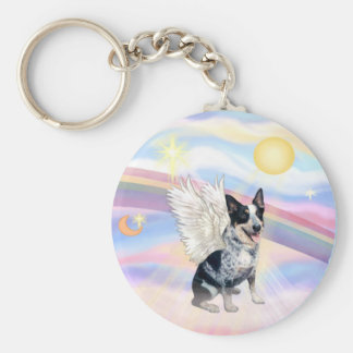 Clouds - Australian Cattle Dog Angel - Square Keychain