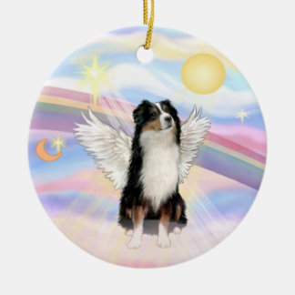 Clouds - Australian Shepherd Angel (tri) Double-Sided Ceramic Round Christmas Ornament