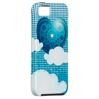 Clouds background with heart, iPhone 5 case