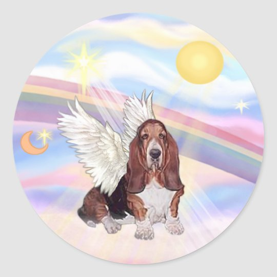 Clouds - Basset Hound Angel Classic Round Sticker