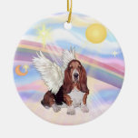 Clouds - Basset Hound Double-Sided Ceramic Round Christmas Ornament