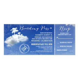 Clouds Beach Boarding Pass Wedding Tickets Invites
