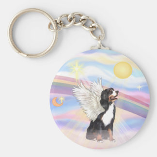 Clouds - Bernese Mountain Dog Angel Basic Round Button Keychain