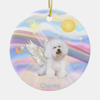 Clouds - Bichon Frise Angel - round, Chantsi Ceramic Ornament