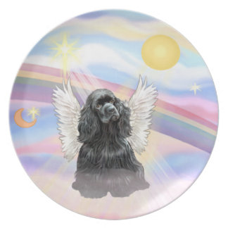 Clouds - Black Cocker Spaniel Angel Dinner Plate