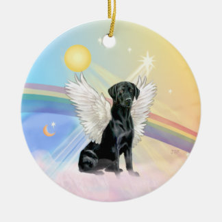 Clouds - Black Labrador Angel Ceramic Ornament