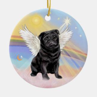 Clouds - Black Pug Angel Ceramic Ornament