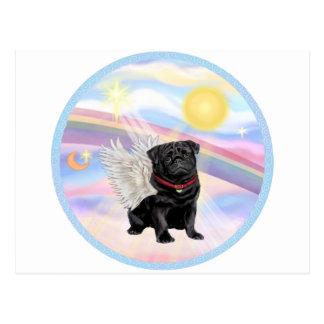 Clouds - Black Pug Angel Postcard