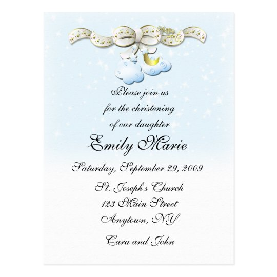 Clouds Blue Christening Invitation Postcard