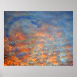 Clouds Blue Orange Mackeral Serpent Poster