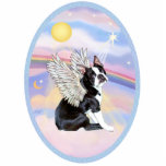 """Clouds - Boston Terrier #4 Statuette<br><div class=""""desc"""">A Boston Terrier angel floating in heaven&#39;s pastel clouds,  free to go home to Rainbow Bridge and be cared for by the angels while they make new friends.</div>"""