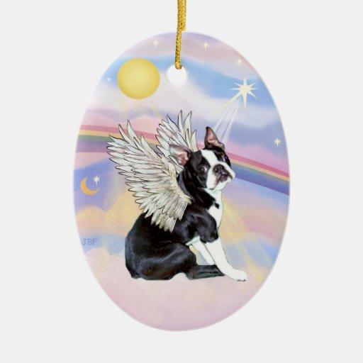 Clouds boston terrier angel christmas tree ornament zazzle