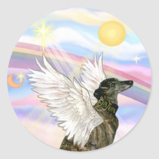 Clouds - Brindle Greyhound angel Classic Round Sticker