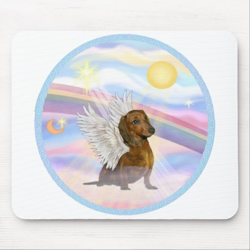 Clouds - Brown/Red Dachshund Angel Mouse Pad
