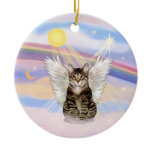 Clouds - Brown Tabby Tiger Cat Angel Double-Sided Ceramic Round Christmas Ornament