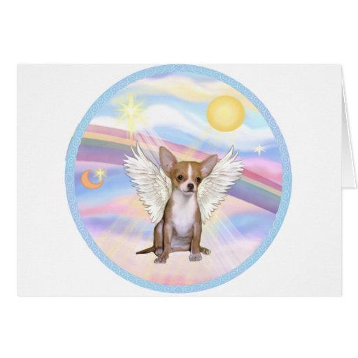 Clouds - Chihuahua Angel (light red) Card