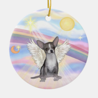 Clouds - Chihuahua (grey) Double-Sided Ceramic Round Christmas Ornament