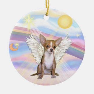 Clouds - Chihuahua (light red) Double-Sided Ceramic Round Christmas Ornament