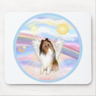 Clouds - Collie Angel (sable and white #1) Mouse Pad