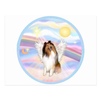 Clouds - Collie Angel (sable and white #1) Postcard