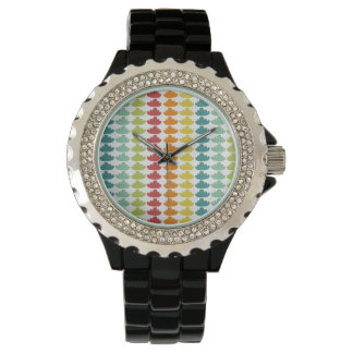 clouds colorful patterns wrist watch