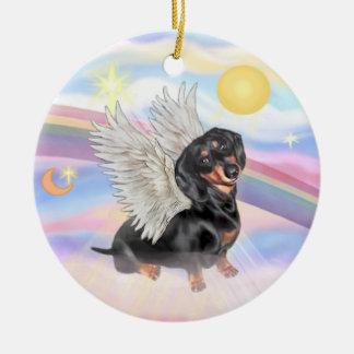 Clouds - Dachshund Angel (black/tan) Ceramic Ornament