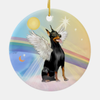 Clouds - Doberman Pinscher (dbl sided) Ceramic Ornament