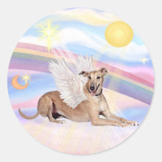 Clouds - Fawn Greyhound Angel (lying down) Classic Round Sticker