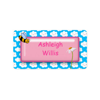Clouds Flower and Bee - Girls School Name Labels