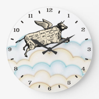 Clouds flying cow wings beef cuts kitchen clock