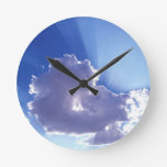 Clouds Gods Rays Round Wall Clock