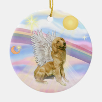 Clouds - Golden Retriever Angel (B1) Ceramic Ornament