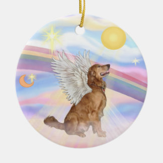 Clouds - Golden Retriever Angel Ceramic Ornament