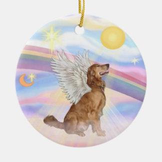 Clouds - Golden Retriever Angel Ceramic Ornament