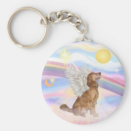 Clouds - Golden Retriever Angel (profile) Keychain