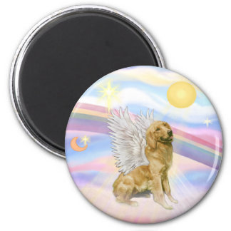 Clouds - Golden Retriever (B1) Angel 2 Inch Round Magnet