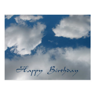 clouds happy birthday postcard