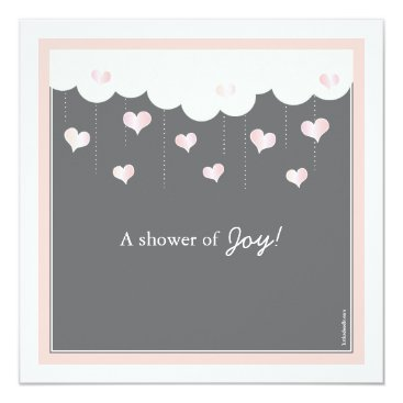 Toddler & Baby themed Clouds & Hearts Baby Shower for Girl Invitation