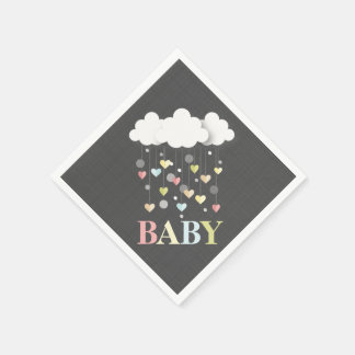 Clouds + Hearts Baby Shower Napkins